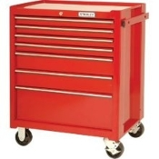 PROTO J442742-7RD Rolling Cabinet, 27 In, 7 Dr, Red