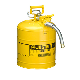 "JUSTRITE 7250230 5 Gallon/19L Type 2 Safety Can, Yellow 1"" Hose"