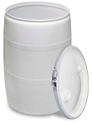 WHITE POLY DRUM WITH LID 25 GAL